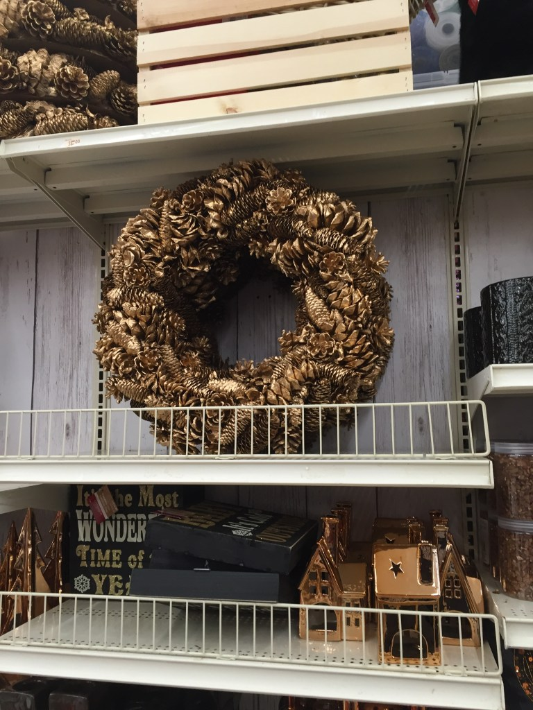 Holiday Pine Cone Wreath- Gold painted pine cone wreath