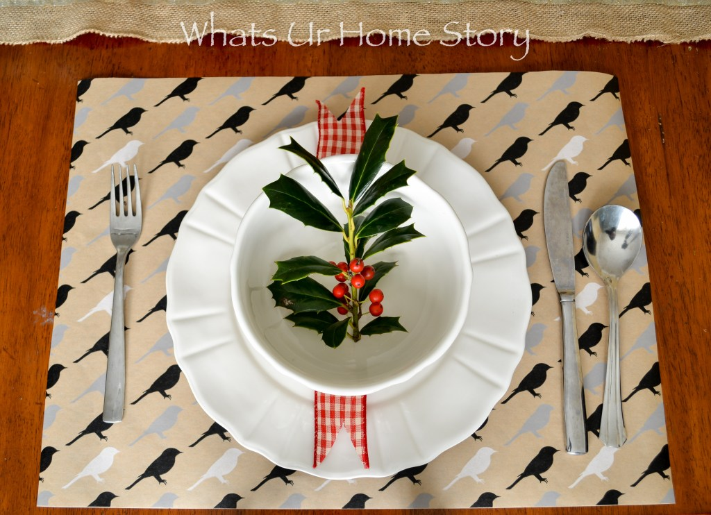 simple holiday place setting with holly
