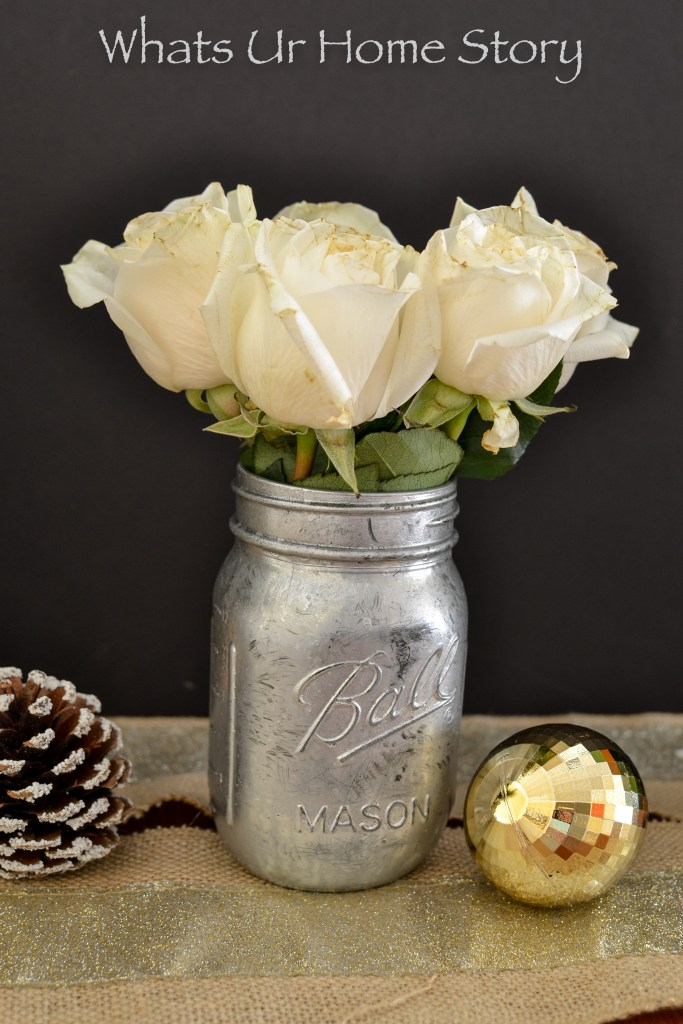 Turn an ordinary mason jar into mercury glass with spary paint