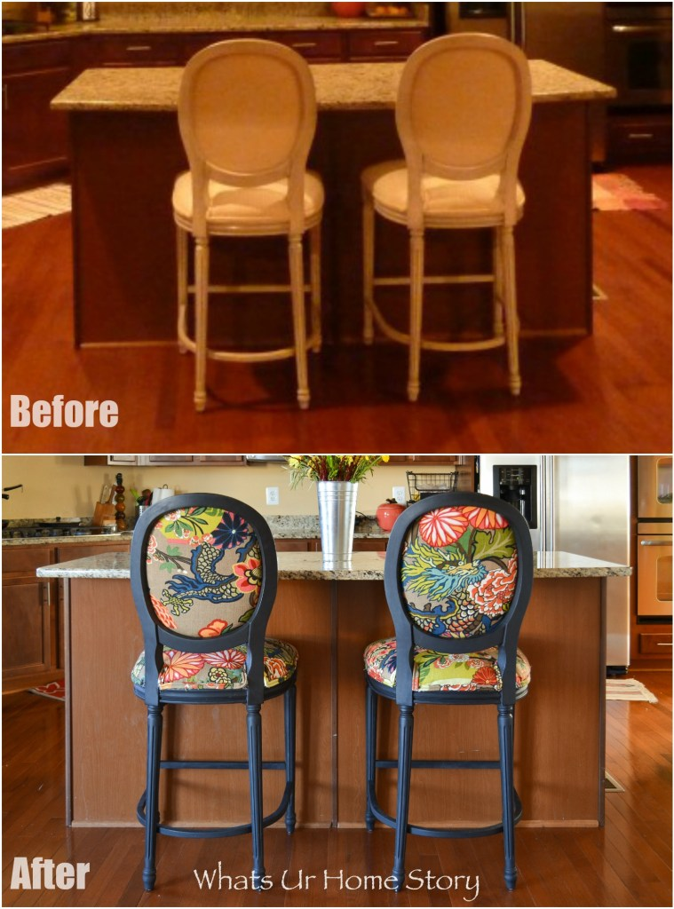 Chair makeover with black paint and Jacobean fabric