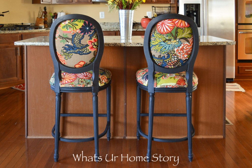 How to Give New Look to Old Fabric Bar Stools with Chiang Mai Dragon Fabric
