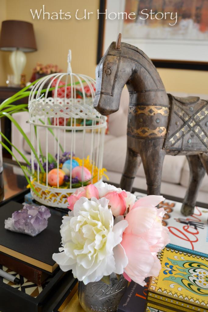 Spring vignette with Easter egg