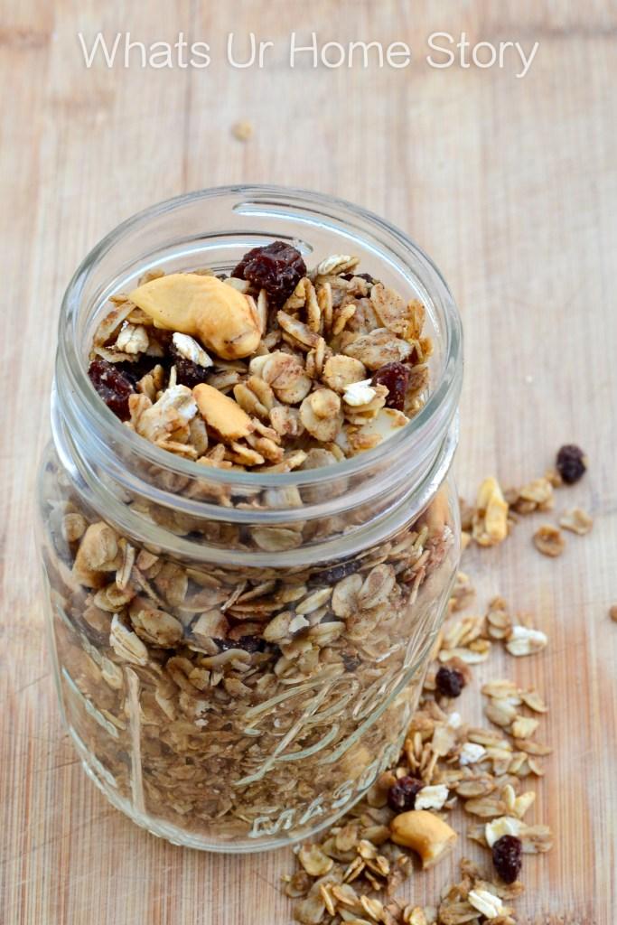 homemade granola with cashews and raisins