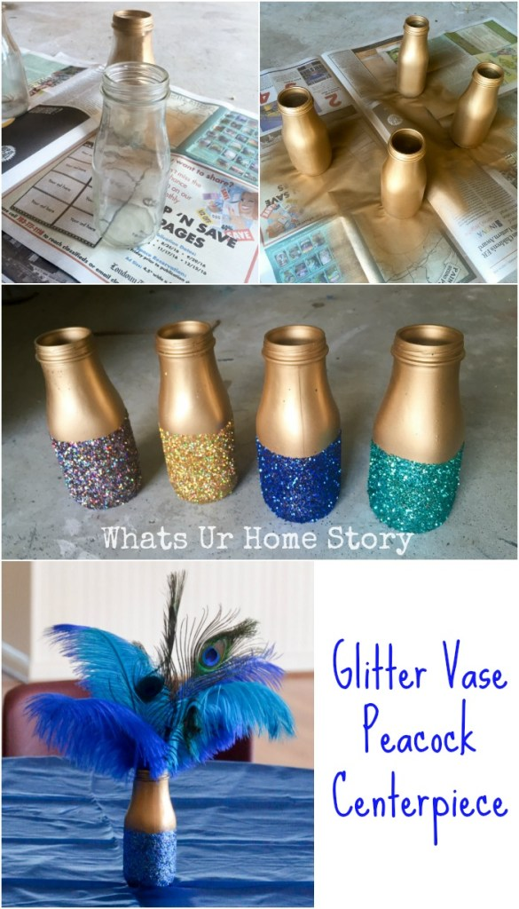 Recycle an old bottle to make a glitter vase peacock centerpiece