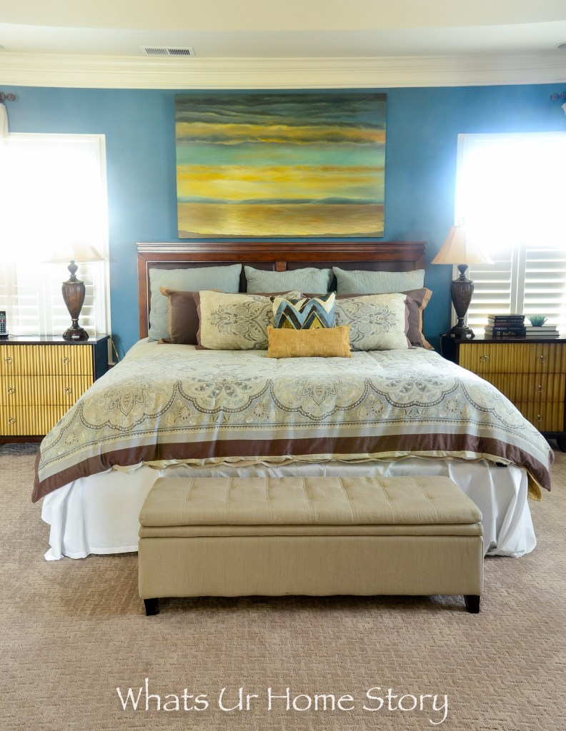 eclectic home tour - blue and beige bedroom