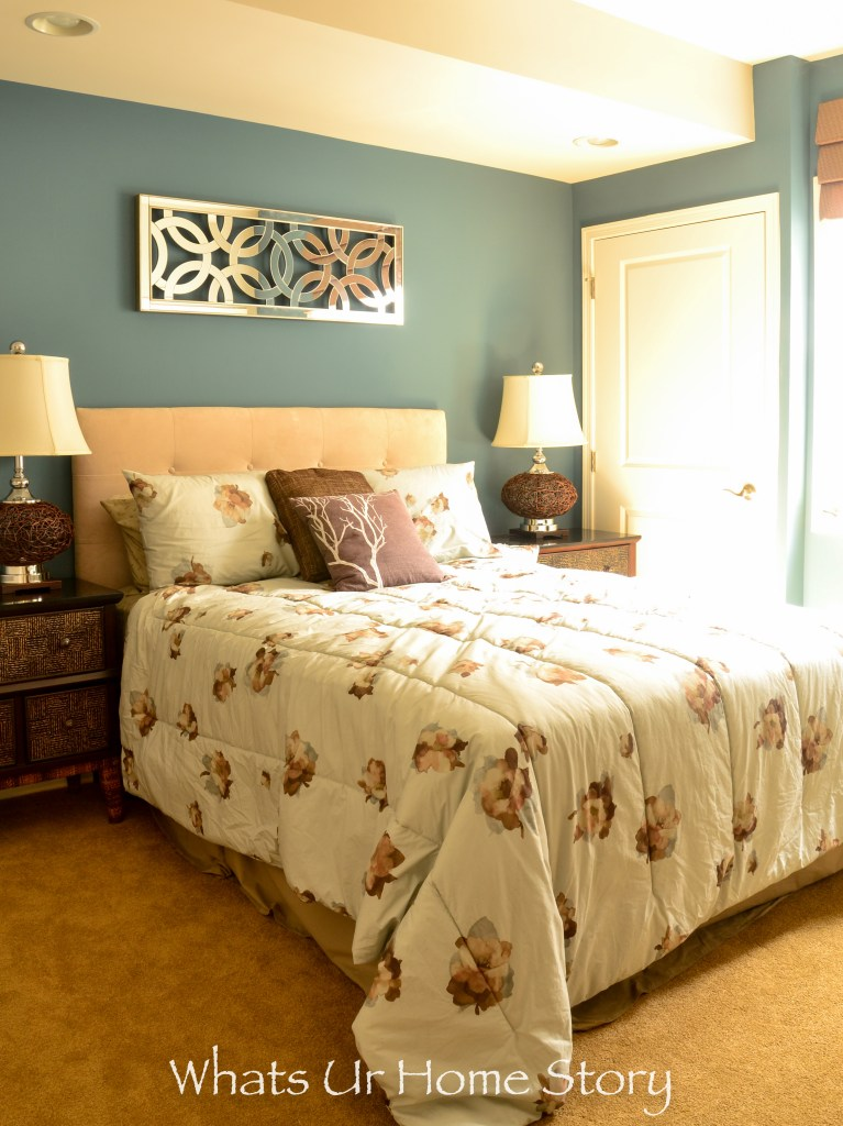 eclectic home tour - blue and chocolate bedroom
