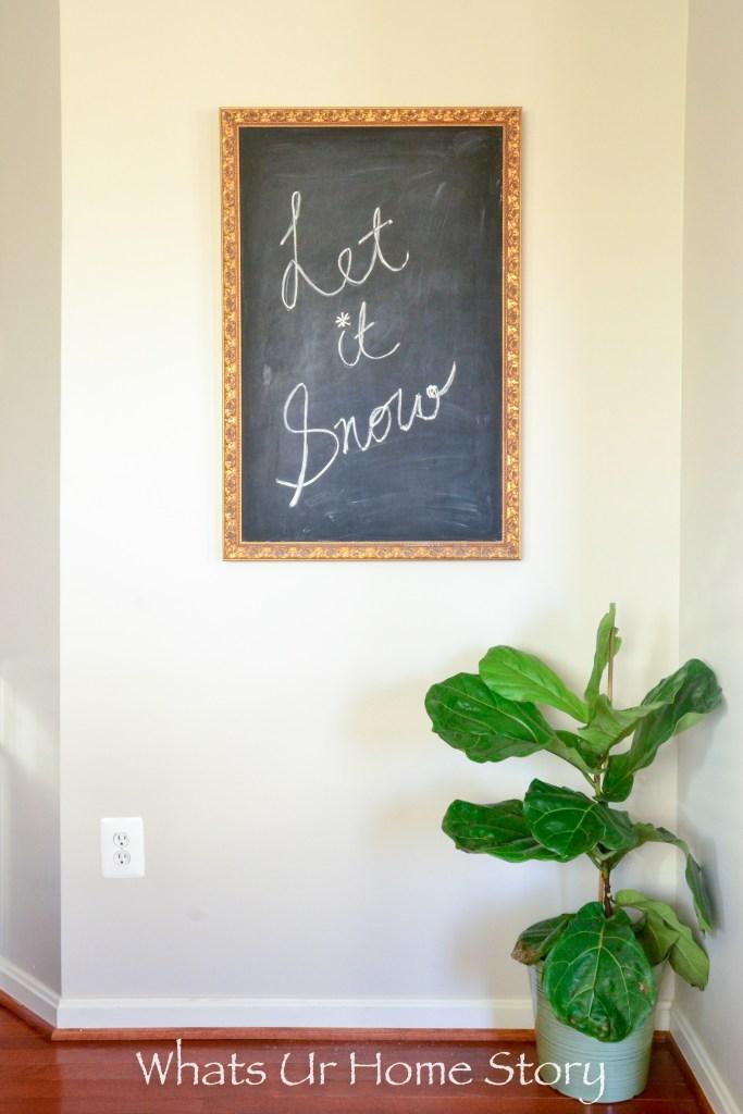 Convert an old mirror into a chalk board, fiddle leaf fig
