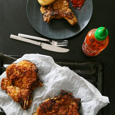 Gochujang pork chops with pineapple buns