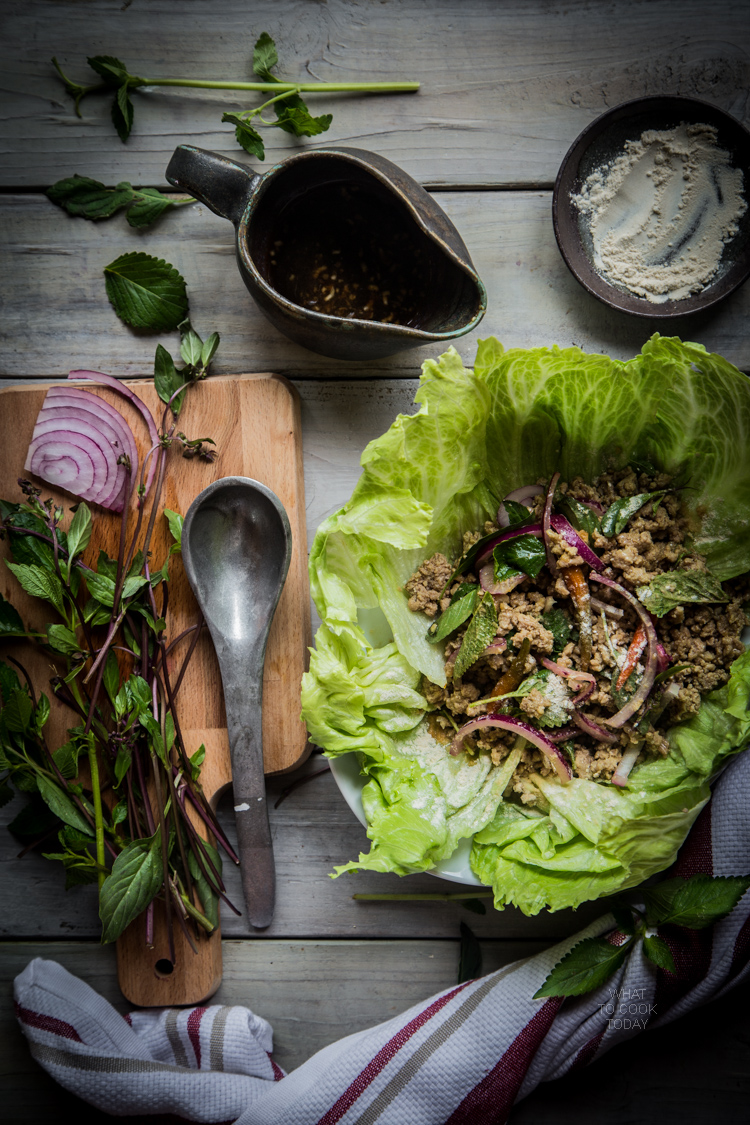 Thai larb moo (Spicy pork salad)