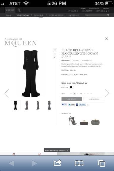 Alexander McQueen Bell-Sleeve Floor Length Gown