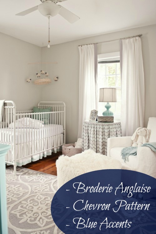 This nursery features great grey walls with white furnishings. We see the crib having broderie anglaise trimmings and Kate liking the chevron pattern