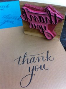 "An adorable ""Thank You"" stamp in handwriting can make a cheap long-term option by just buying cheap plain cards and stamping!"