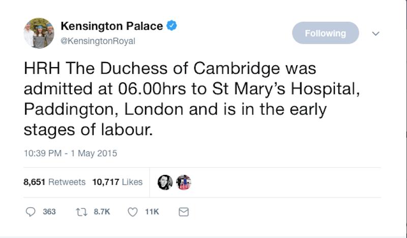 Kensington Palace Royal Baby Tweet