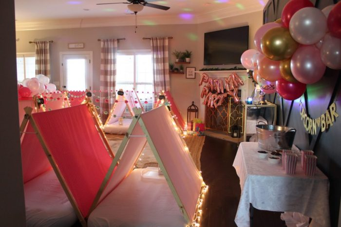Southern Sleepovers & Sleepover Birthday Party: This post shares ideas for decorations, activities, games, food, cake, snacks, and more for throwing an event that is enjoyable for boys, girls, and adults alike! More within this post on WhimsicalSeptember.com