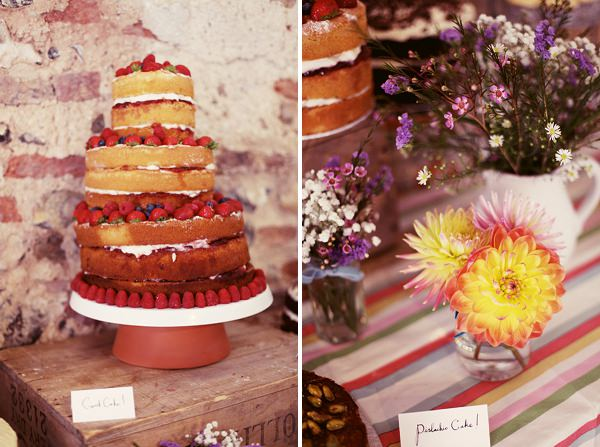 rustic naked wedding cake table