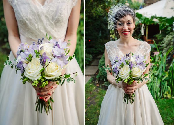 purple blue white wedding flowers bouquet