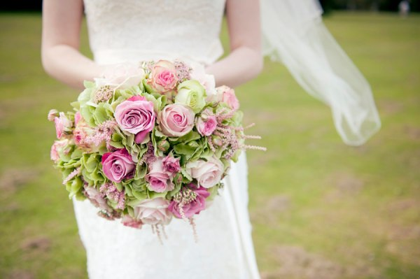 pink green bouquet roses
