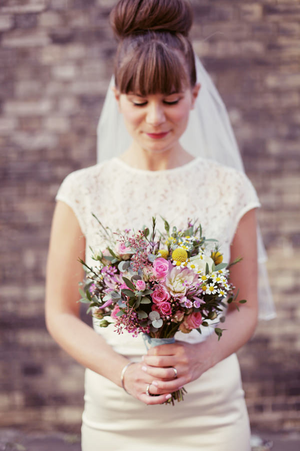 yellow pink bouquet daisy wedding
