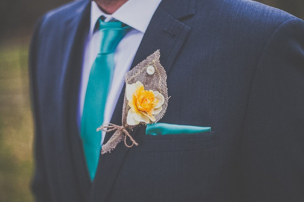 rustic groom hessian buttonhole silk flower