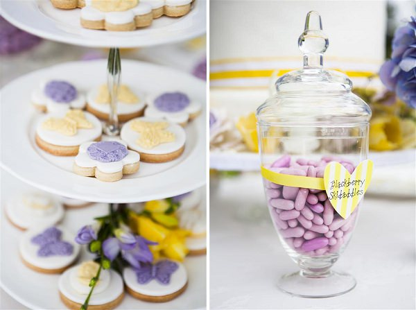 yellow purple sweets wedding