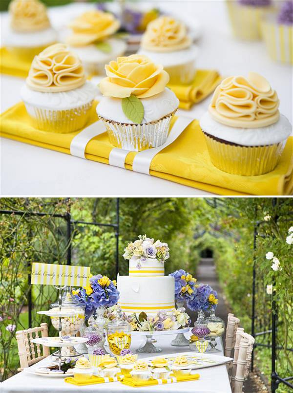 purple yellow cake table wedding dessert
