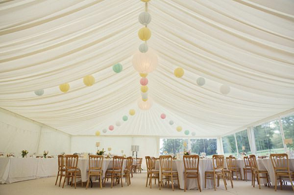 pastel lanterns wedding marquee