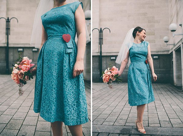 blue wedding dress vintage bride