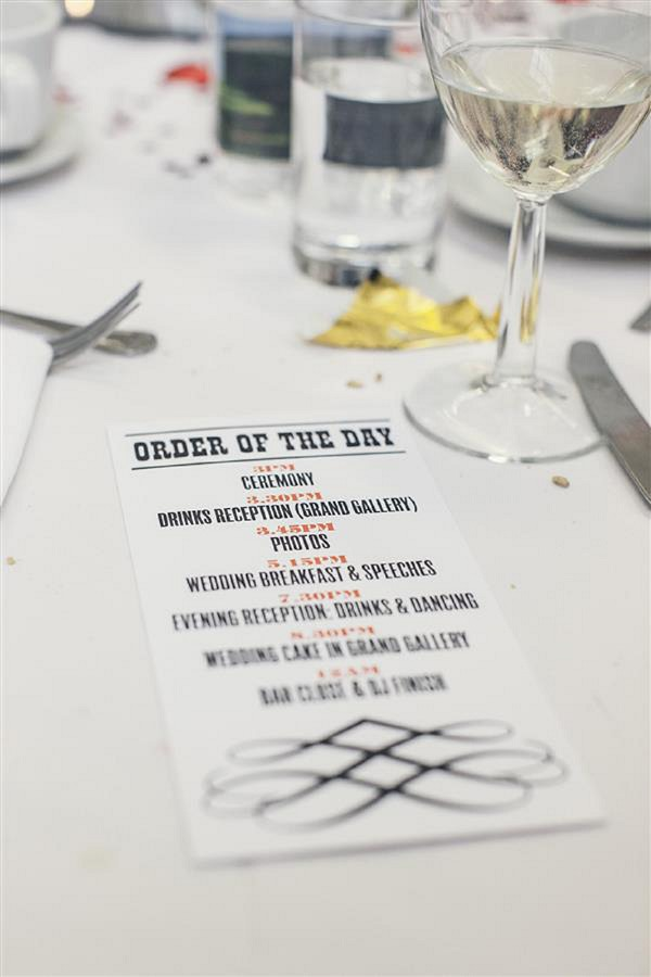 order of the day wedding stationery