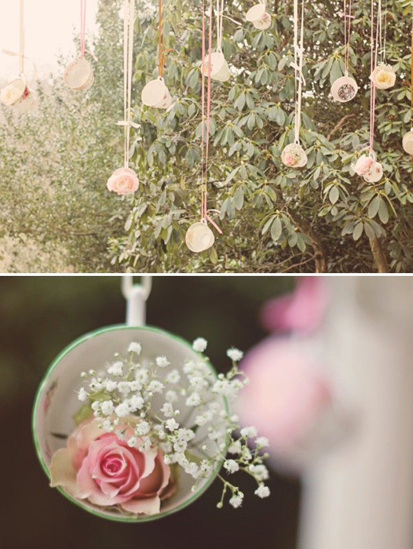 hanging wedding flowers decor teacups