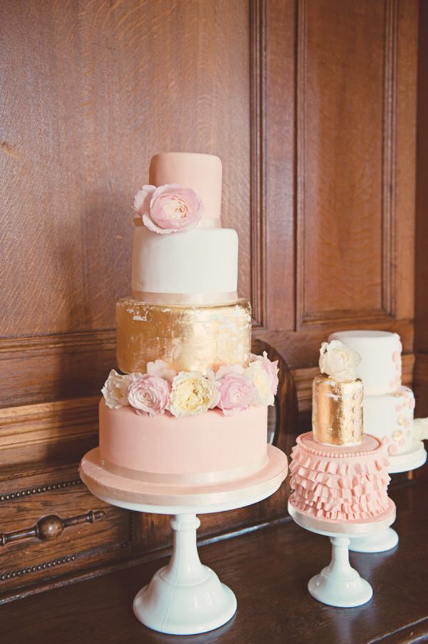 gold pink wedding cakes