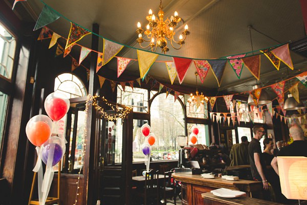 eclectic colourful pub wedding london
