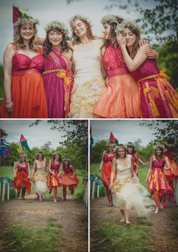 bridesmaids orange pink flower crowns http://elizaboophotography.com/