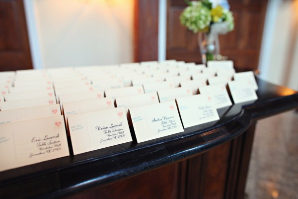 escort cards Glamorous Mill Wedding North Carolina http://whiteboxphoto.com/