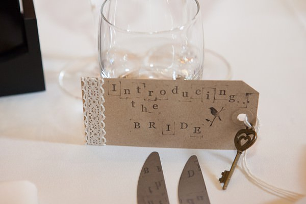 luggage tag place name DIY Lillibrooke Manor Wedding http://fionasweddingphotography.co.uk/