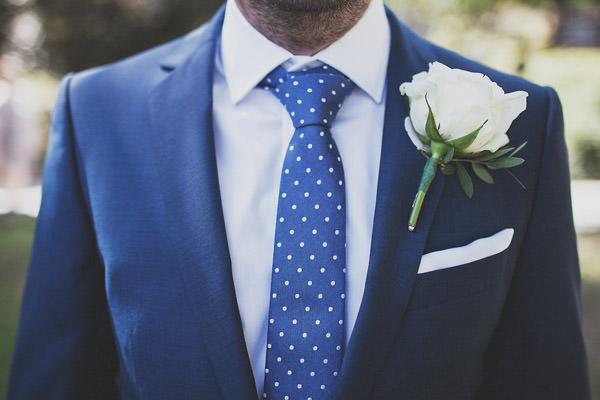 Polka dot tie groom rose buttonhole Classic Elegant Pink Wedding http://www.annahardy.co.uk/
