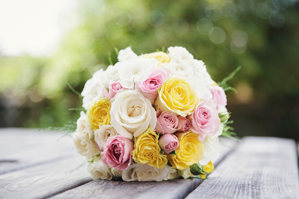 Yellow Pink Ivory Rose Bouquet Bright Tea Party Yellow Wedding http://www.gemmawilliamsphotography.co.uk/