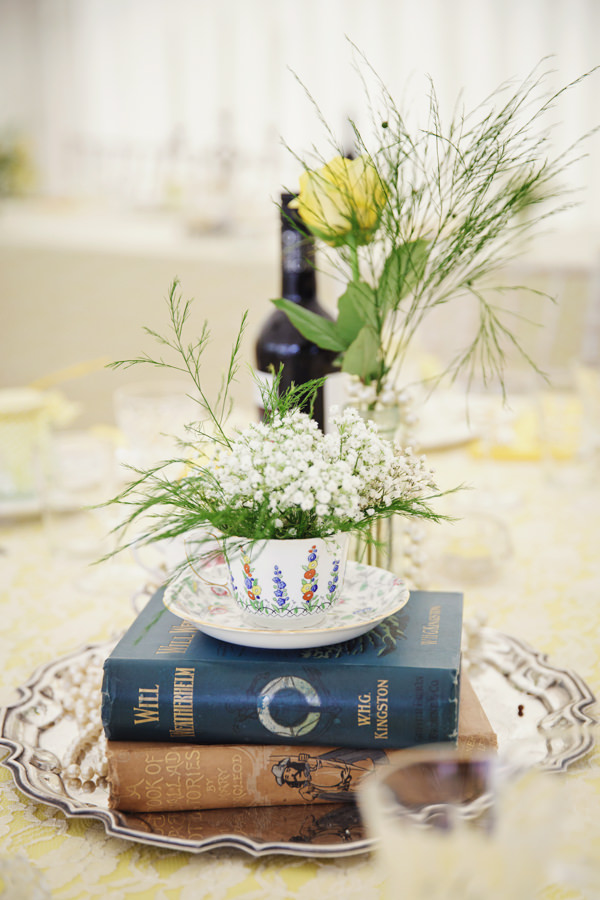 Tea Cup Flowers Bright Tea Party Yellow Wedding http://www.gemmawilliamsphotography.co.uk/
