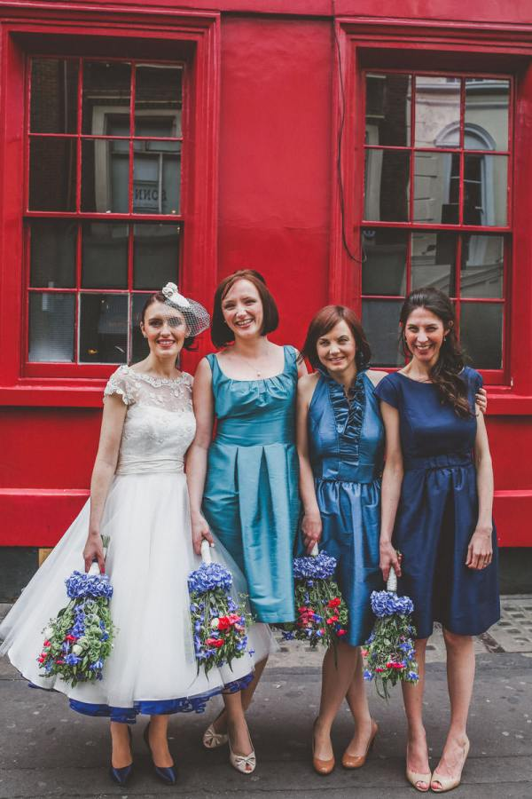 Mismatched Blue Bridesmaid Dresses Dessy Quirky London City Wedding www.jordannamarston.com/