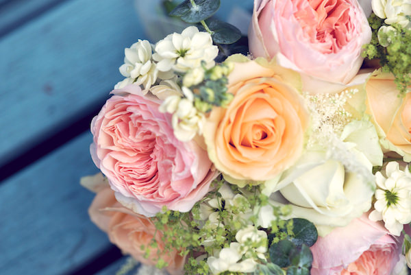 roses, stocks, alcheamilla, veronica bouquet Stylish Fun Humanist Wedding http://www.ruby-roux.com/