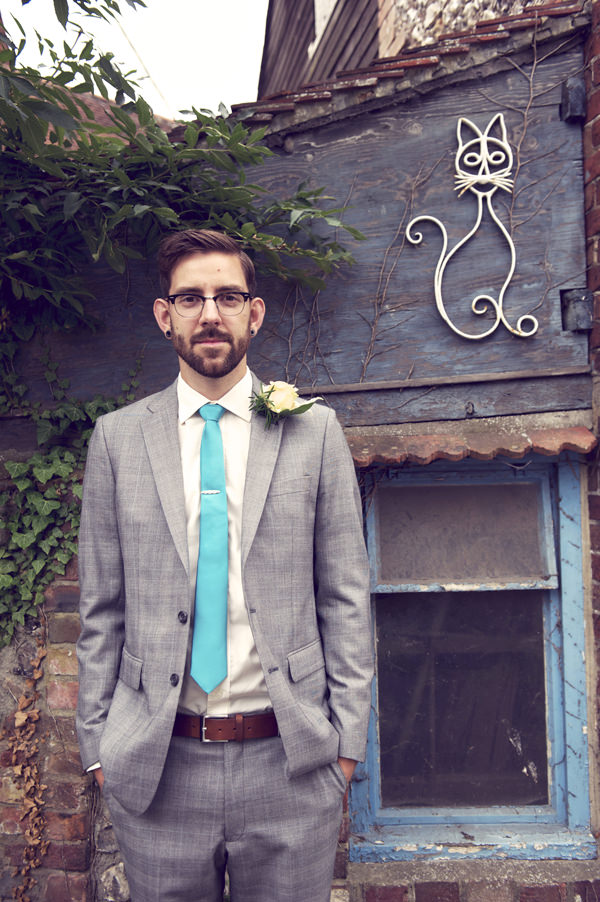 Hugo Morris Groom Grey Suit Stylish Fun Humanist Wedding http://www.ruby-roux.com/