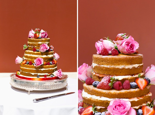 Chic Black Tie Hampton Court House Wedding Naked Cake http://www.clairestelle.com/
