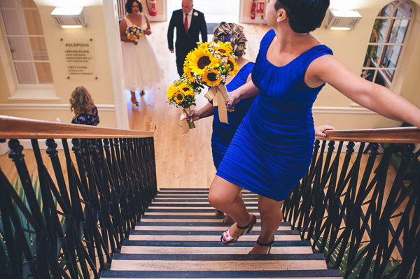 Blue Bridesmaid Dresses Sunflower Bouquets Nautical Colourful Pirate Wedding http://www.mariannechua.com/