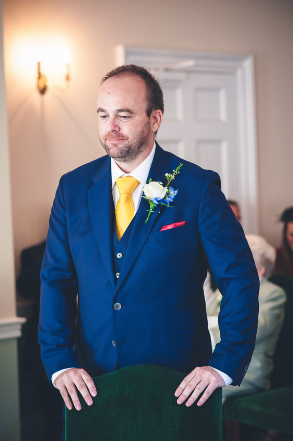 Paul Smith Groom Blue Suit Yellow Tie Nautical Colourful Pirate Wedding http://www.mariannechua.com/