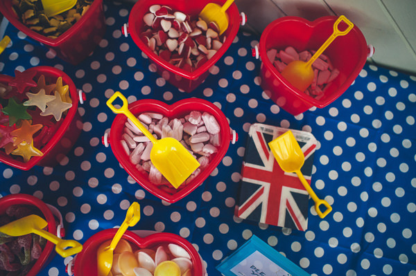Sweetie Table Buckets Spades Nautical Colourful Pirate Wedding http://www.mariannechua.com/