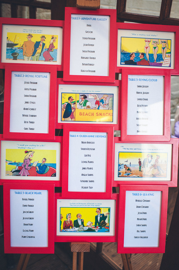 Table Plan Nautical Colourful Pirate Wedding http://www.mariannechua.com/