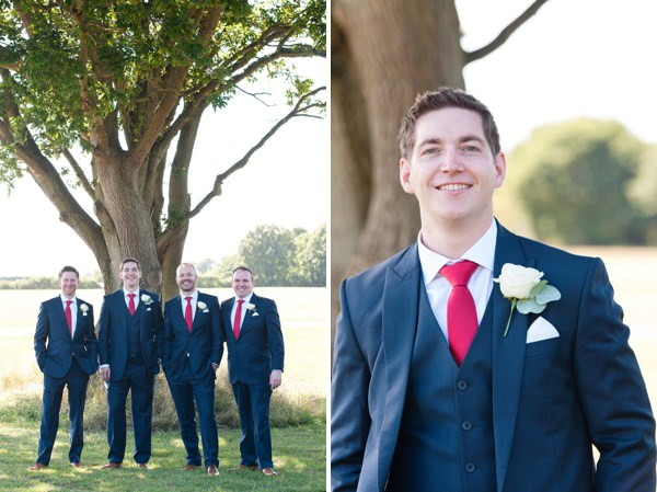 Chic & Relaxed Country Rustic Wedding Blue Suit Groom Red Tie http://www.sarareeve.com/