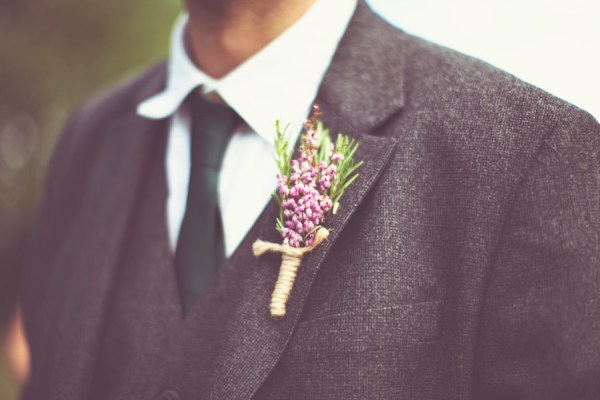 DIY Village Hall Wedding Heather Buttonhole http://www.onloveandphotography.com/