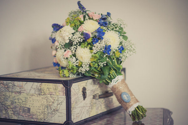 Fun Map Inspired Wedding White Blue Bouquet http://karibellamy.com/