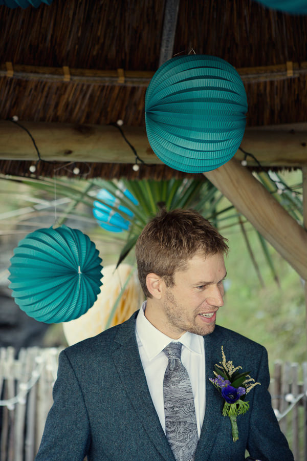 Magical Turquoise Beach Wedding Woven Jacket Animal Tie Groom http://www.mariannetaylorphotography.co.uk/