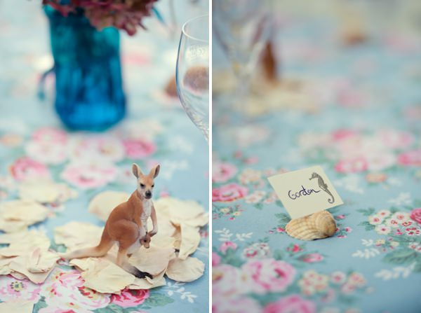 Magical Turquoise Beach Wedding Animal Decor http://www.mariannetaylorphotography.co.uk/